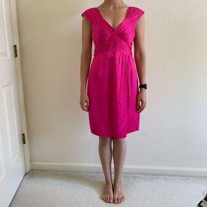 Nanette Lepore Fuschia Ruched Bodice Satin Dress
